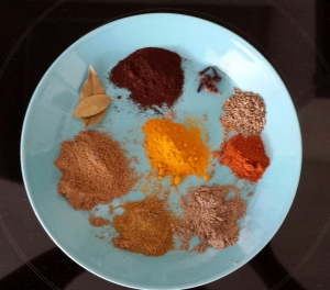 Spices for an Indian goat curry.